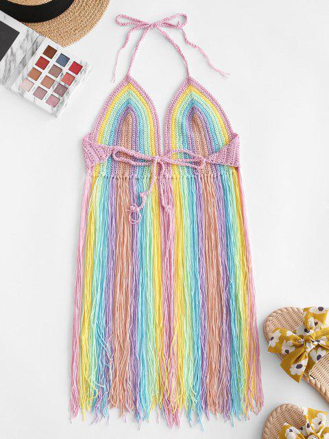 sale Fringed Halter Crochet Swim Top - MULTI ONE SIZE Mobile