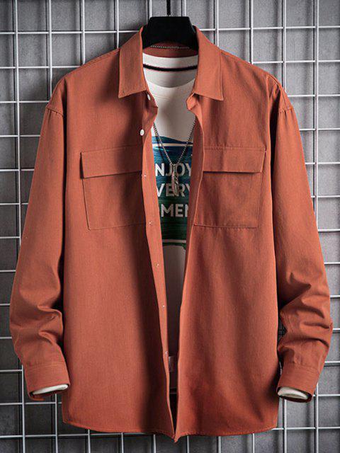 buy Plain Flap Pocket Basic Shirt - DARK ORANGE L Mobile