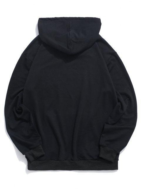 women's Letter Graphic Print Kangaroo Pocket Pullover Hoodie - BLACK M Mobile