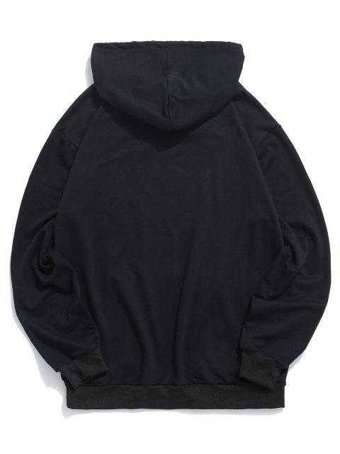 best Letter Graphic Print Kangaroo Pocket Pullover Hoodie - BLACK 2XL Mobile