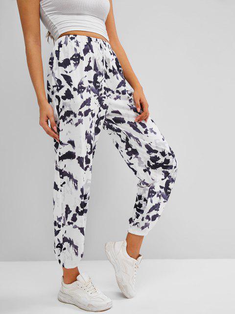 shop Drawstring Tie Dye Pocket Jogger Sweatpants - GRAY XL Mobile