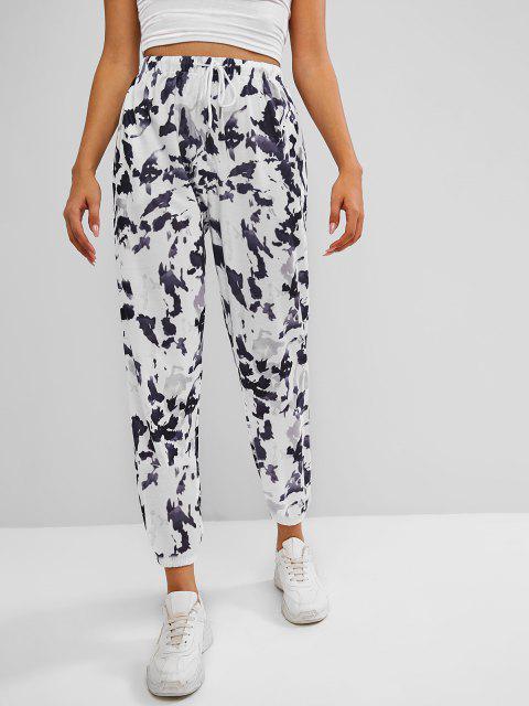 buy Drawstring Tie Dye Pocket Jogger Sweatpants - GRAY S Mobile