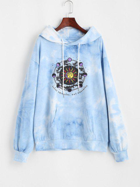Front Pocket Sun Moon Tie Dye Hoodie - أزرق فاتح M Mobile