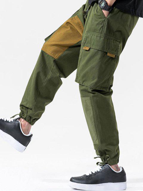 Pantalones con Cordón de Color Parches de Carga - Ejercito Verde XS Mobile