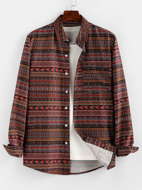 women Bohemian Striped Print Long Sleeve Shirt - DEEP COFFEE S Mobile