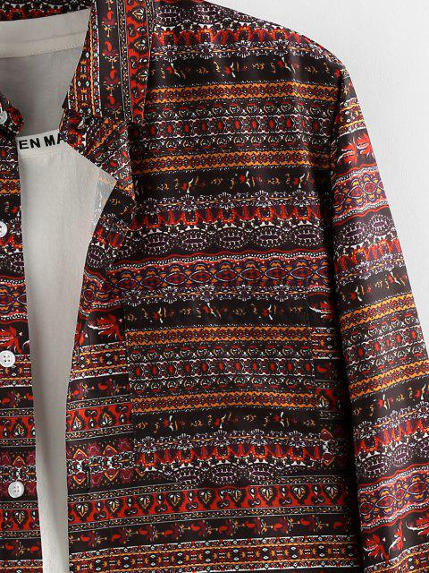 women's Bohemian Striped Print Long Sleeve Shirt - DEEP COFFEE M Mobile