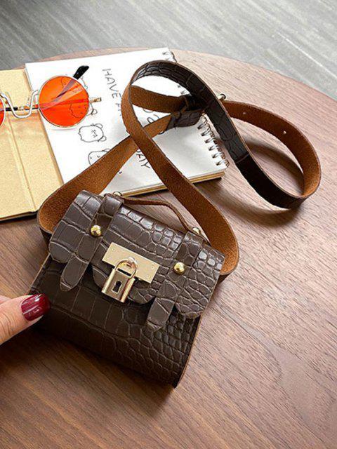 chic Textured Lock Mini Chest Bag - DEEP COFFEE  Mobile