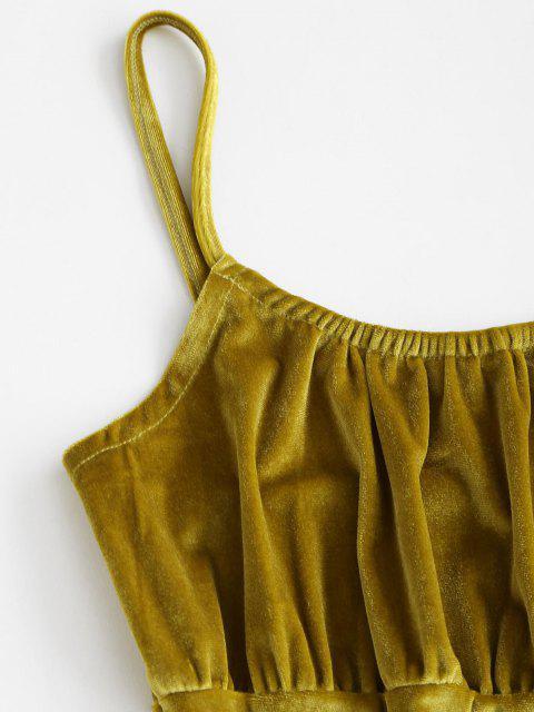 shops Plain Ruched Velvet Mini Bodycon Dress - GREEN S Mobile