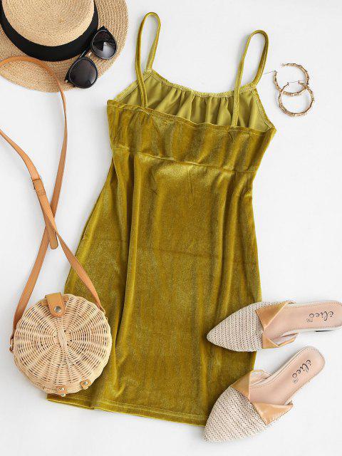 Einfaches Gerafftes Samt Mini Bodycon Kleid - Grün M Mobile