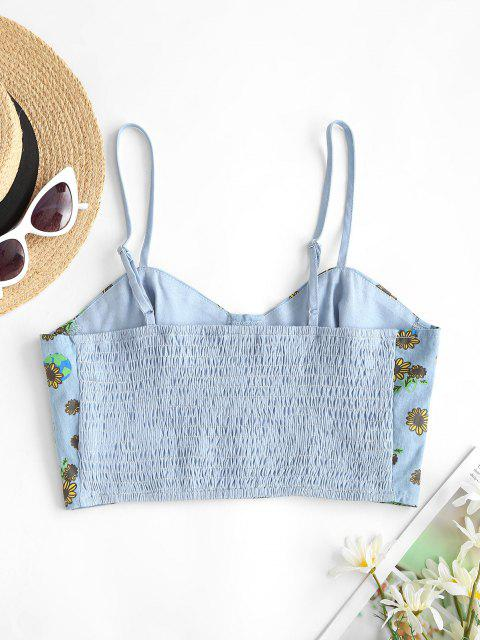 ZAFUL Chambray Smocked Back Sunflower Bustier Top - أزرق فاتح S Mobile