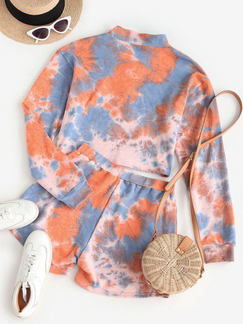 ZAFUL Half Zip Tie Dye Two Piece Set - برتقالي قاتم M Mobile