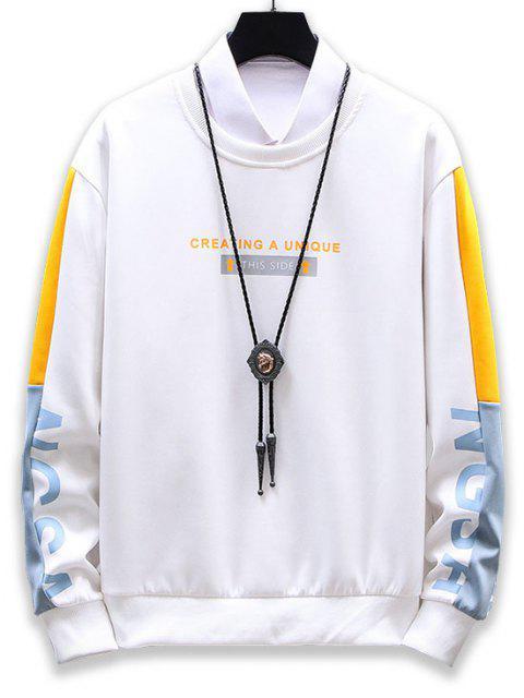 outfit Creating A Unique Graphic Colorblock Sweatshirt - WHITE M Mobile