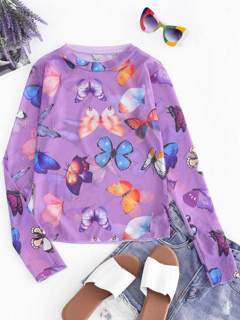 trendy Butterfly Mesh See Through Slim Tee - PURPLE ONE SIZE Mobile