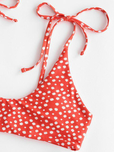 outfit ZAFUL Ditsy Print Tie Shoulder High Leg Bikini Swimwear - RED S Mobile