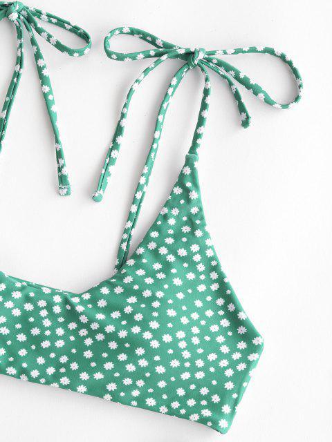 affordable ZAFUL Ditsy Print Tie Shoulder High Leg Bikini Swimwear - GREEN S Mobile