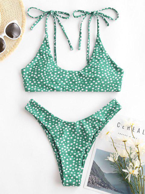 ZAFUL Costume da Bagno Bikini a Gamba Alta con Stampa Incrociata Ditsy - Verde S Mobile