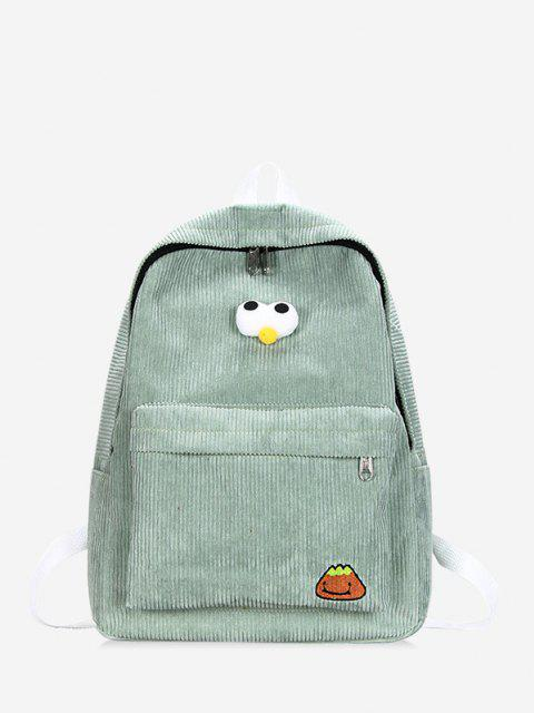 best Cartoon Eyes Corduroy Solid Backpack - LIGHT GREEN  Mobile