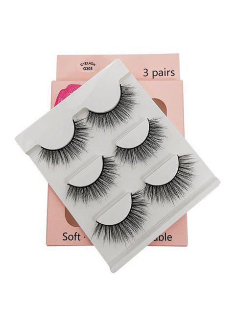 3Pairs Handmade False Eyelashes Set - أسود G305 Mobile