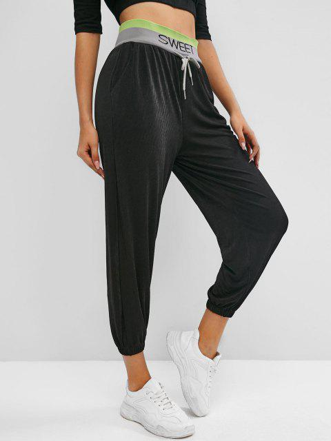 latest Sweet Graphic High Waisted Jogger Pants - BLACK S Mobile