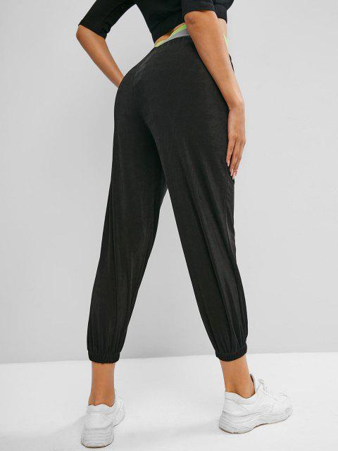 unique Sweet Graphic High Waisted Jogger Pants - BLACK L Mobile