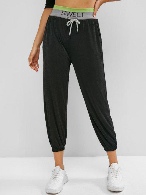 buy Sweet Graphic High Waisted Jogger Pants - BLACK M Mobile