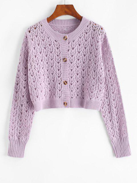 women's Solid Button Up Open Knit Cardigan - LIGHT PURPLE ONE SIZE Mobile