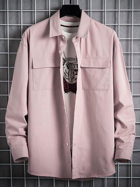 Plain Flap Pocket Basic Shirt - زهري XL Mobile