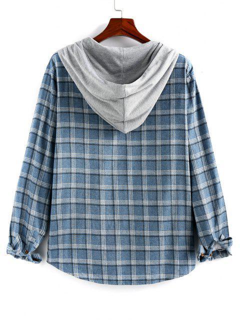 womens ZAFUL Plaid Flap Pocket Colorblock Hooded Shirt - BLUE GRAY S Mobile