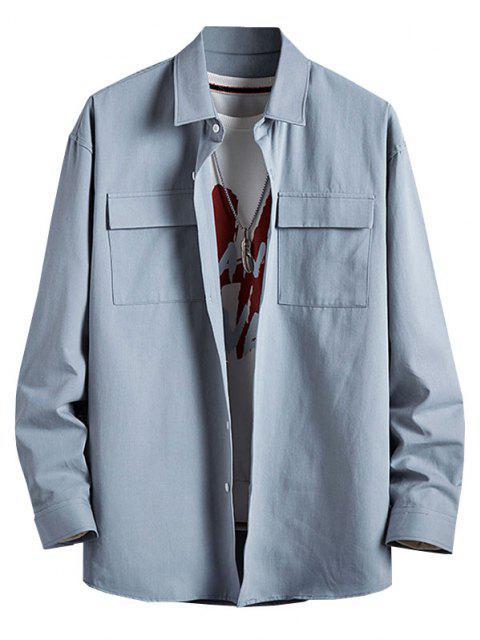 hot Plain Flap Pocket Basic Shirt - LIGHT BLUE 3XL Mobile