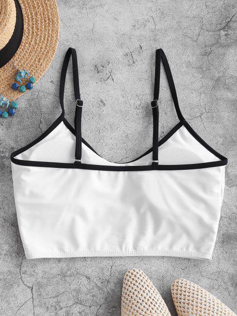 trendy ZAFUL Piping Butterfly Print Cropped Bikini Top - WHITE M Mobile