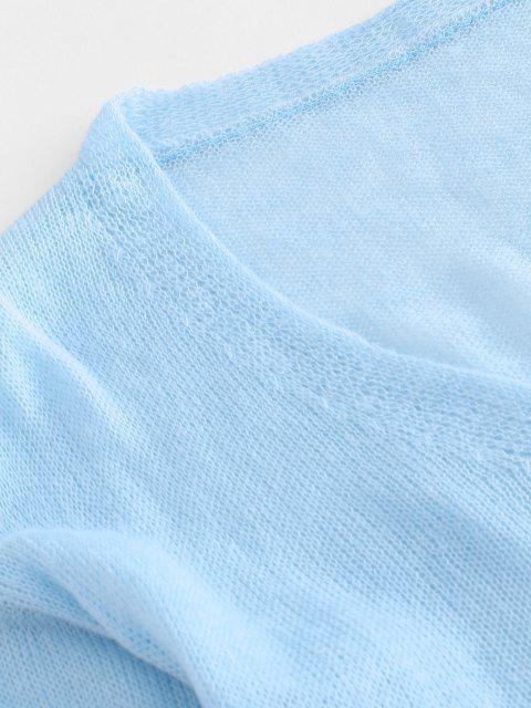 Lässige Gestrickte Strickjacke mit Hängender Schulter - Blau Eine Größe Mobile