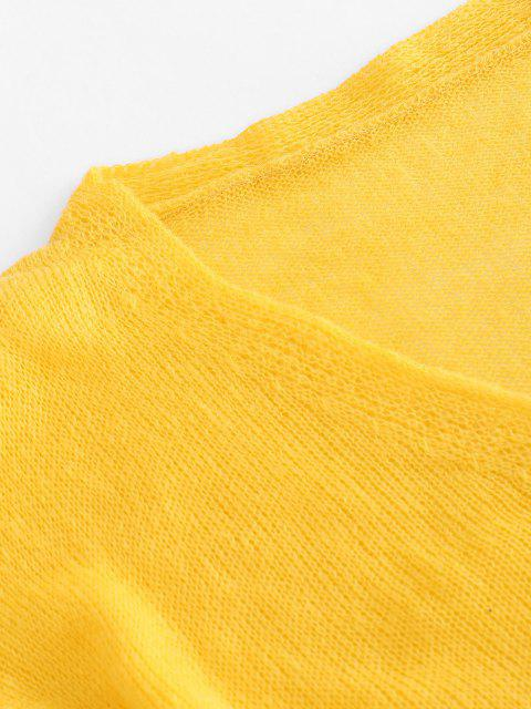 online Drop Shoulder Casual Knitted Cardigan - YELLOW ONE SIZE Mobile