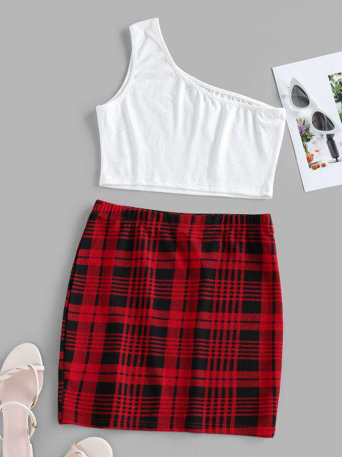 buy ZAFUL One Shoulder Plaid Two Piece Dress - RED XL Mobile