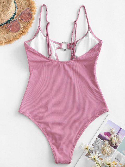 ZAFUL Gerippter Geflochtener Badebekleidung mit Hohem Schnitt - Hell-Pink L Mobile