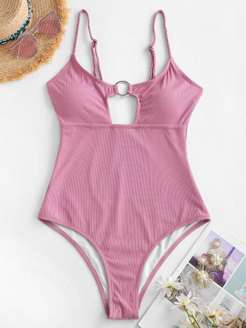 ZAFUL Gerippter Geflochtener Badebekleidung mit Hohem Schnitt - Hell-Pink XL Mobile