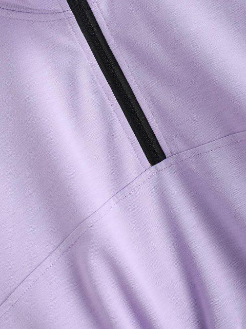 unique ZAFUL Flap Pocket Half Zip Cargo Sweatshirt - LIGHT PURPLE L Mobile