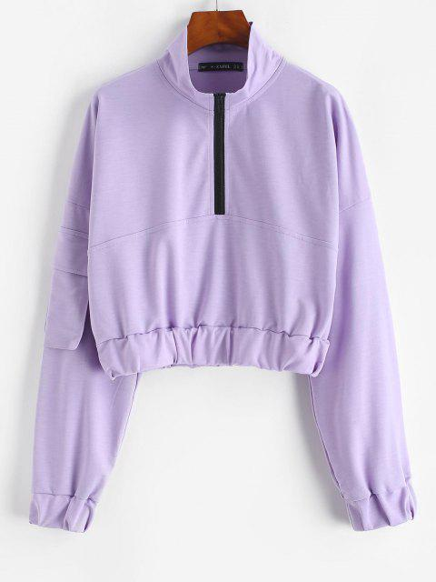 ZAFUL Flap Pocket Half Zip Cargo Sweatshirt - ضوء ارجواني L Mobile