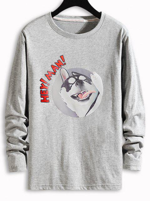 shops Dog Letter Graphic Long Sleeve T-shirt - GRAY XL Mobile