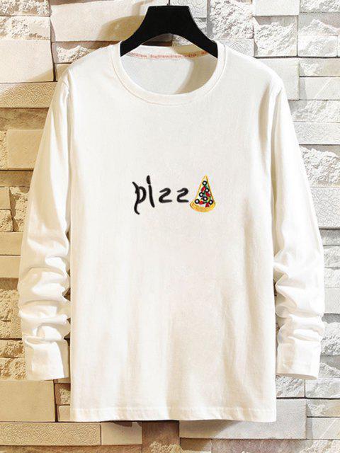 T-Shirt a Maniche Lunghe con Stampa Grafica a Pizza - Bianca XS Mobile