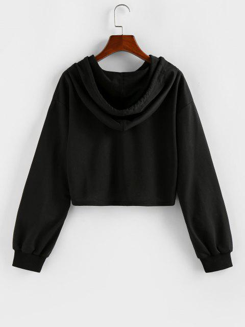 shops ZAFUL Cropped Drawstring Butterfly Print Hoodie - BLACK M Mobile
