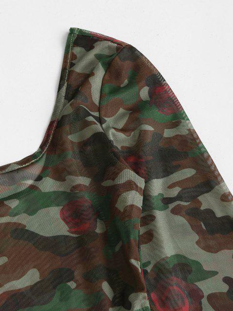 shops ZAFUL Contrast Camouflage Sheer Mesh Bodysuit - DEEP GREEN L Mobile