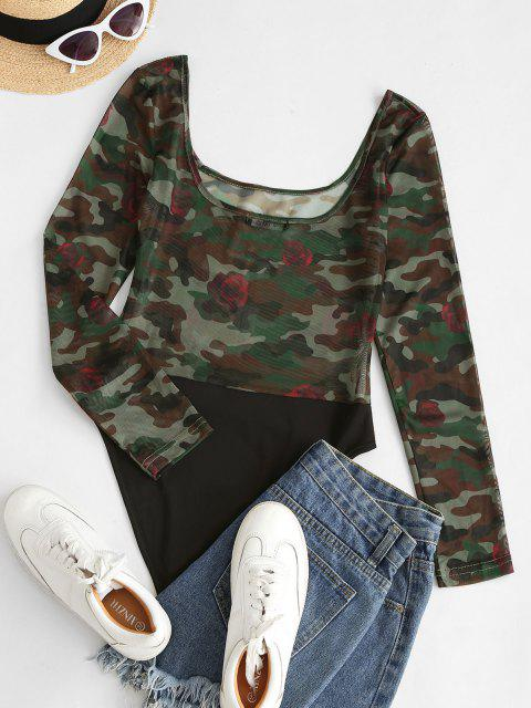 ZAFUL Contrast Camouflage Sheer Mesh Bodysuit - ديب غرين L Mobile