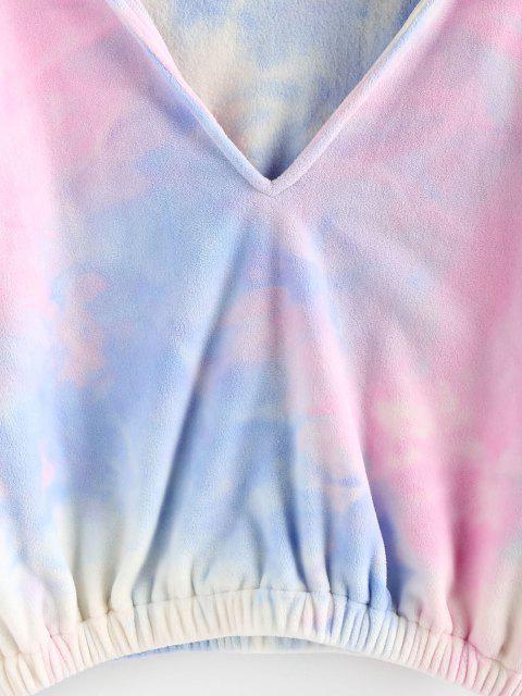 ladies ZAFUL Tie Dye V Notch Drop Shoulder Hoodie - MULTI-A M Mobile