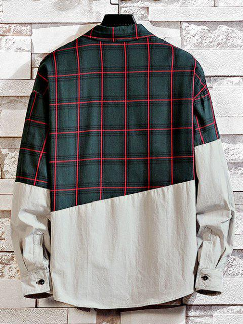 chic Plaid Pattern Two Tone Panel Shirt - GREEN M Mobile