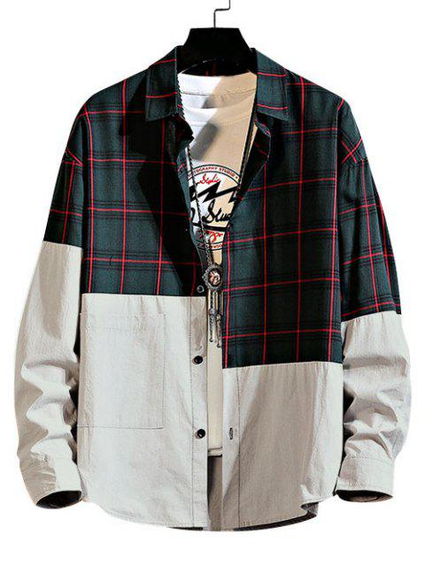 sale Plaid Pattern Two Tone Panel Shirt - GREEN 2XL Mobile
