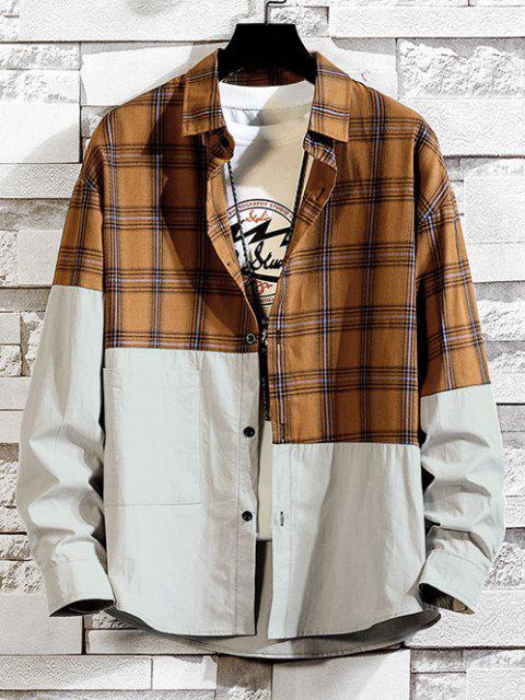 shops Plaid Pattern Two Tone Panel Shirt - COFFEE M Mobile