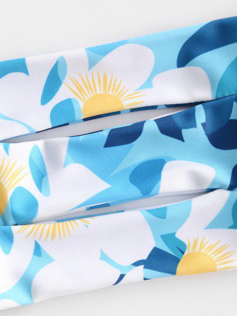 new ZAFUL Braided Straps Cutout Bandeau Bikini Swimwear - BLUE M Mobile