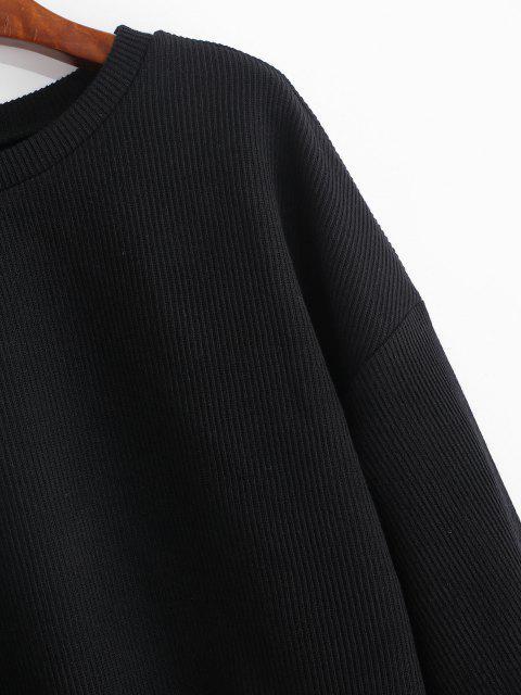 lady ZAFUL Cropped Lantern Sleeve Sweater - BLACK L Mobile