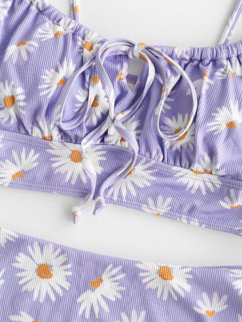 ZAFUL Gebundenes Gänseblümchendruck Tankini Badebekleidung mit Erdbeerstrickmuster - Helles Lila S Mobile