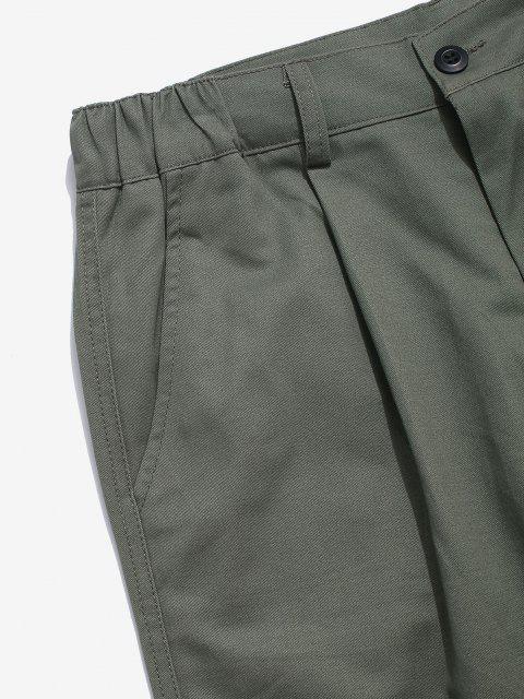 Einfarbige Gefälschte Tasche Gerade Hose - Grau S Mobile